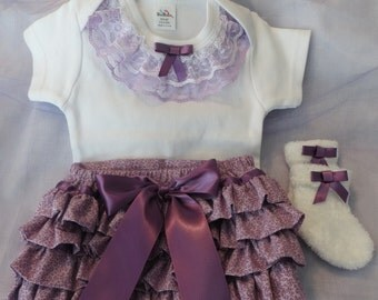 Ruffled Diaper Cover Set, Ruffled Diaper Cover, Coordinating Body Suit, Socks,and Headband, Sizes NB to 18 mo