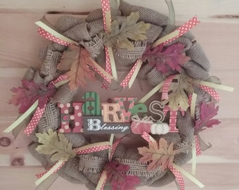 Fall Wreath - Burlap Wreath - Door Wreath - Wall Wreath - Harvest Blessing - Thanksgiving, Birthday, Anniversary