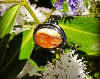 Fire Opal and Sterling Silver Ring