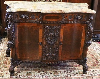 Best Carved Walnut Marble Top Commode Dresser Server Buffet Sideboard c1910!