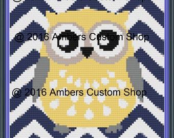 Yellow Owl Crochet Graph Pattern