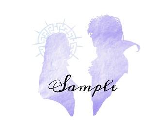 Jareth and Sarah Silhouette print