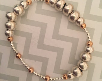 Rose Gold and Silver stacking bracelet