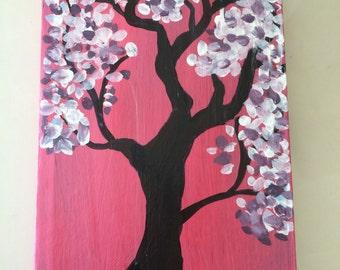 Hand painted journal - cherry blossom