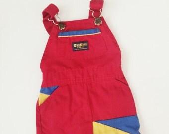 Vintage Oshkosh overalls retro color block red blue yellow size 4T girls boys