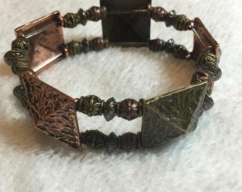 Handmade Bronze Copper and Silver Metal Bracelet
