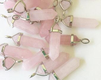 Rose Quartz Crystal/ Rose Quartz Crystal Point Pendant/ Hexagonal Double Point Rose Quartz Gemstone CY102