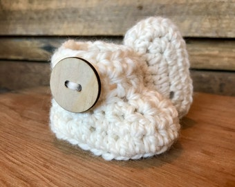 Crochet Baby Booties - Cream