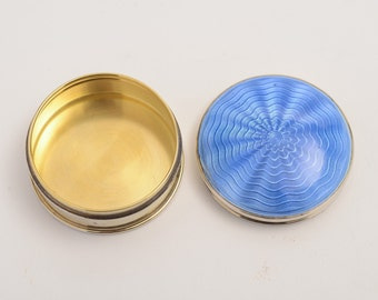 Pretty blue Guilloche Enamel pill box (ID 47207)