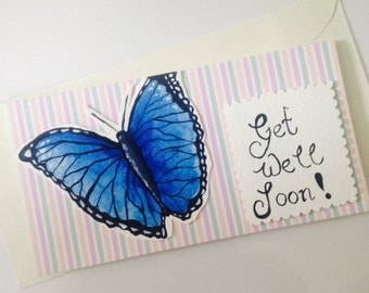 Hand painted Striped blue morpho butterfly get well soon greetings card.