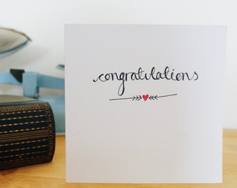 Hand illustrated Congratulations heart card