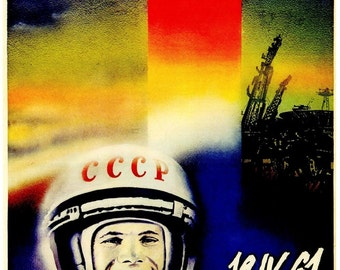 Vintage Russian Soviet Space Cosmonaut Retro USSR Political Poster Revolution Art Reproduction Print A3 A4
