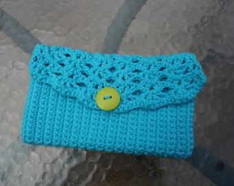 Crocheted Blue Wallet Makeup Bag