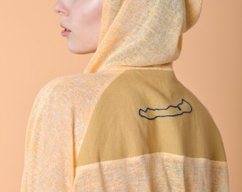 ODETTE yellow beach tunic with raglan sleeves and embroidered back