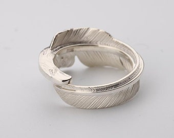 Eagle Feather Ring | Silver Feather Ring | Feather Jewelry | Adjustable Ring | Native American Inspired Jewelry | Quill Ring | Bird Feather