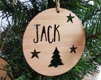 Personalised Wood Christmas Decoration / Ornament Tree & Stars