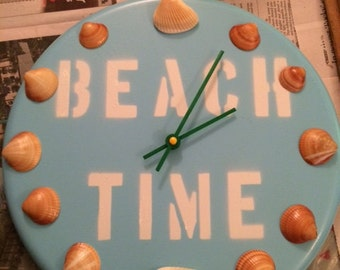 "Round ""Beach Time"" clock"