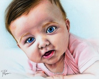 Custom, Color Pencil, Drawing, Portrait of Baby Girl Katie