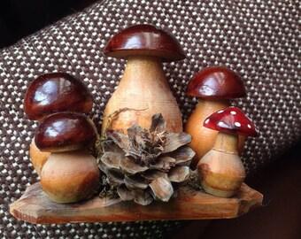 Soviet figurine handmade mushrooms 1970