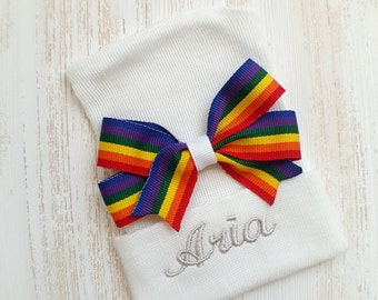 Personalized Newborn girl hospital hat- rainbow bow, rainbow baby, baby girl hospital hat, white hospital hat, newborn hat, baby girl beanie