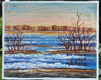 Wall art painting - River Daugava in spring time - watercolour, nature, water, spring, blue, Latvia