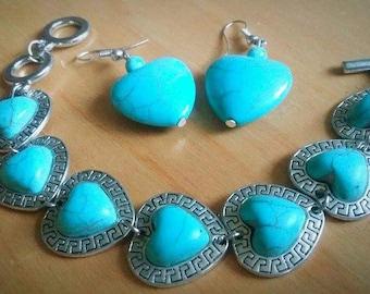 heart turquoise set