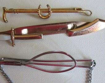 Three Vintage Tie Clips