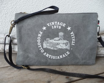Canvas Clutch with print - Italian vintage style