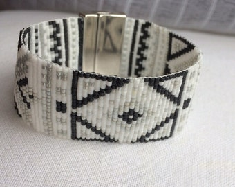 Cuff Bracelet beads woven miyuki