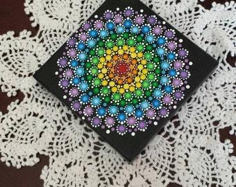 "Rainbow Mandala Dot Painting on 4""x4"" stretched canvas"