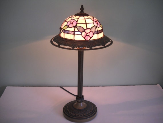 Stained Glass Lamp With Tall Base