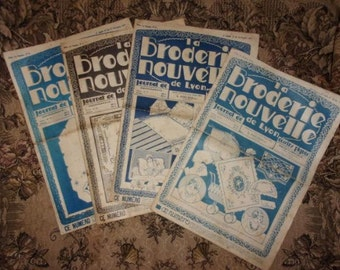 """A set of 4 issues of the """"New embroidery"""" magazine French 20/30s"""