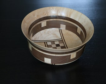 Wooden Bowl of black walnut and Maple stung with collage