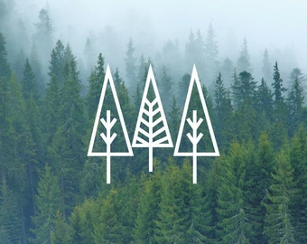 3 Trees Decal / Nature Decals / Laptop Decals / Car Decals / Adventure Decals / Computer Decals / MacBook Decals / Window Decals