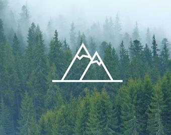 Twin Peaks Decal / Mountain Decal / Nature Decals / Laptop Decals / Car Decals / Computer Decals / MacBook Decals / Window Decals