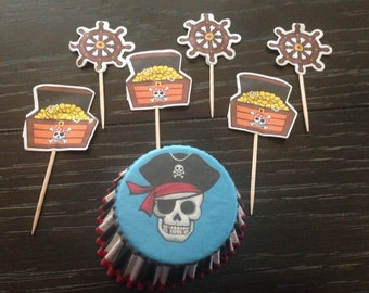 48 Pieces, 24 Pirate Pirates Cupcake Picks Toppers , 24 Baking Cups Birthday Party