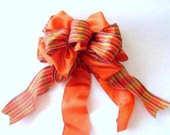 Autumn Plaid Bow / Fall Wreath Bow / Orange Plaid Bow / Fall Plaid Bow / Fall Decoration Bow / Masculine Gift Bow / Thanksgiving Bow