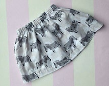 Safari tribal animal print funky pattern zebra handmade baby toddler girls skirt black and white. One of a kind unique baby clothes cool