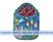 151 Bluebird in Garden - Fly Swatter Holder Decorative Painting Pattern