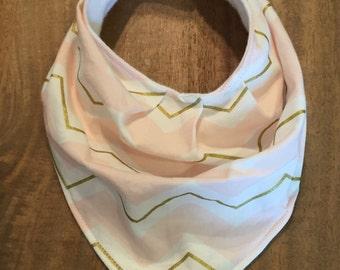 Pink/White/Gold Slouchy Bandana Bib