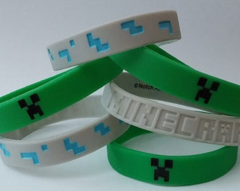 Set of 6 Green and Gray Minecraft Bracelets - These Silicone Wristbands are great Party Favors, Stocking Stuffers, Creeper Goody Bags, Gifts