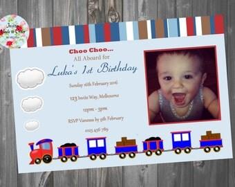 Boys Train Blue Birthday invitation with photo Cute