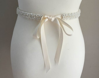 Ivory pearl embellished narrow bridal sash belt