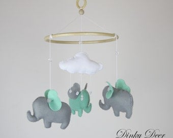 Baby Elephant Mobile - Mint Green and Grey
