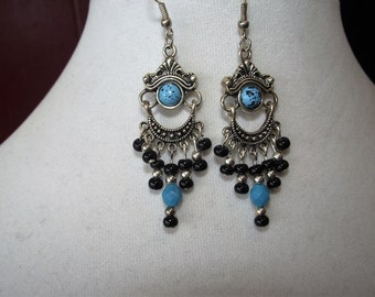 Turquoise and Black Chandelier Earrings
