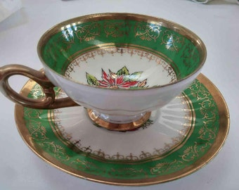 Hand Painted Bone China poinsettia cup and saucer C-344B