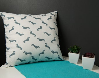 Cushion Cover -  46x46 White Cotton with Dachshund