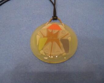 Vintage Fused yellow Glass Pendant