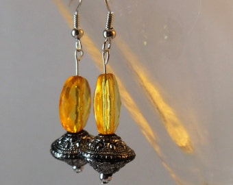 Boho inspired yellow & silver drop earrings