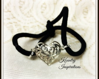 Ponytail Holder/ Hair Elastic Tie/Filigree Heart Bracelet / Pony Tail Holder/Arm Candy Hair/Bracelet / Pony Tail Holder (Ready to Ship)